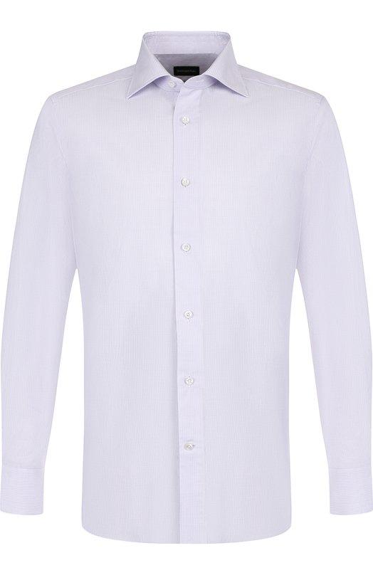 Купить Хлопковая сорочка с воротником кент Ermenegildo Zegna, 401240/9MS0BR, Румыния, Сиреневый, Хлопок: 100%;