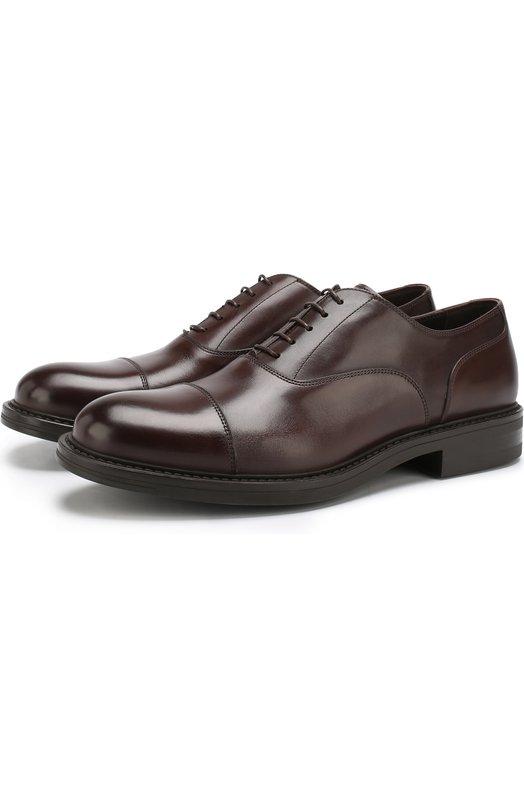 Купить Кожаные оксфорды на шнуровке W.Gibbs, 3169009/CALF TEK, Италия, Коричневый, Подошва-резина: 100%; Подкладка-кожа: 100%; Кожа: 100%;