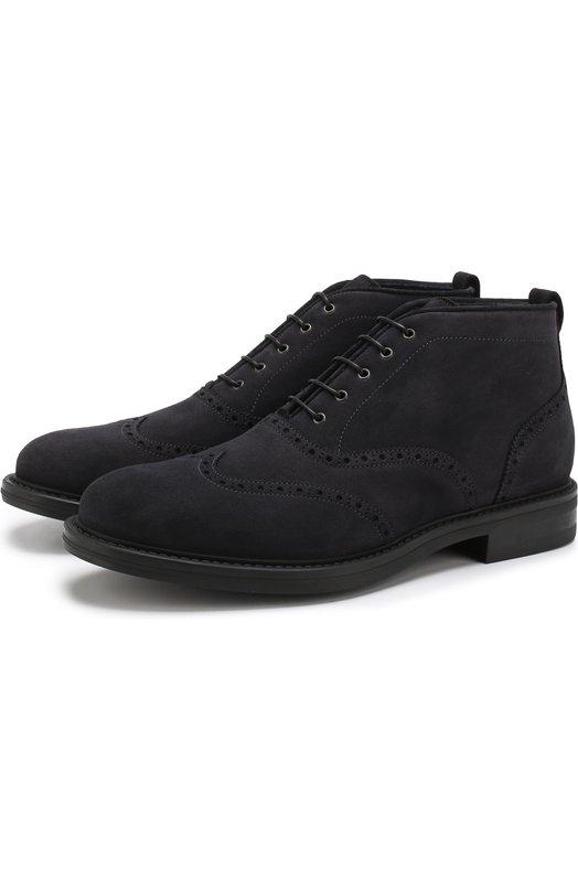 Купить Замшевые ботинки на шнуровке W.Gibbs, 3169015/HIDR0VEL0UR, Италия, Темно-синий, Подошва-резина: 100%; Подкладка-кожа: 100%; Кожа: 100%;