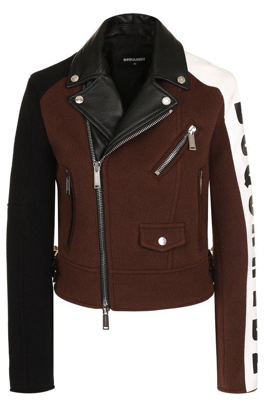 Купить Шерстяная куртка на молнии с кожаной отделкой Dsquared2, S75AM0593/S49242, Италия, Коричневый, Шерсть: 100%; Отделка-кожа: 100%;