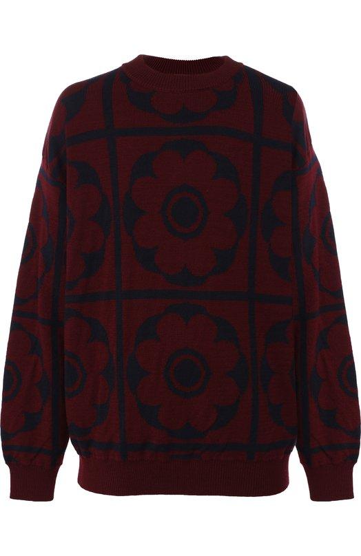 Купить Шерстяной свитер с принтом Dries Van Noten, 182-21251-6705, Бельгия, Бордовый, Шерсть: 100%;