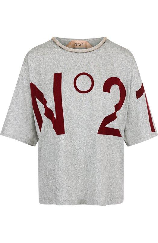 Купить Хлопковая футболка с круглым вырезом и логотипом бренда No. 21, 18I N2M0/F091/4157, Румыния, Серый, Хлопок: 100%;