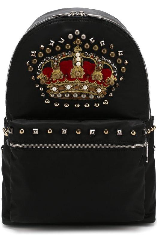Купить Текстильный рюкзак Vulcano с кожаной отделкой Dolce & Gabbana, BM1419/AN350, Италия, Черный, Полиамид: 72%; Акрил: 7%; Полипропилен: 6%; Кожа: 15%;