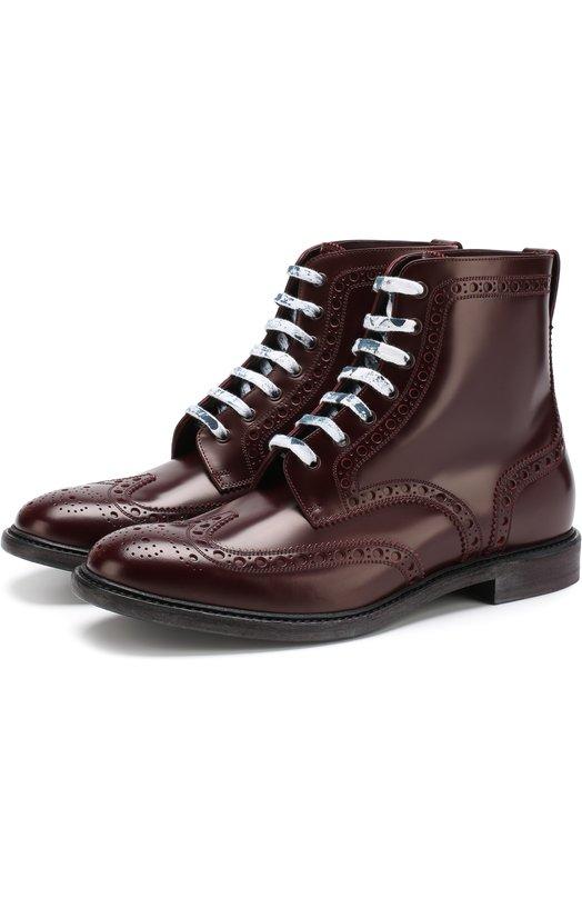 Купить Высокие кожаные ботинки на шнуровке с брогированием Burberry, 8002304, Италия, Бордовый, Подошва-Кожа: 100%; Подкладка-Кожа: 100%; Кожа: 100%;