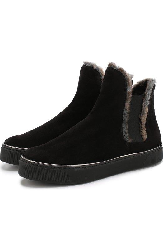 Купить Утепленные замшевые ботинки Stuart Weitzman, YL98859, Испания, Черный, Кожа: 75%; Текстиль: 15%; Подошва-полиуретан: 100%; Подкладка-мех искусств.: 100%; Пластик: 10%;