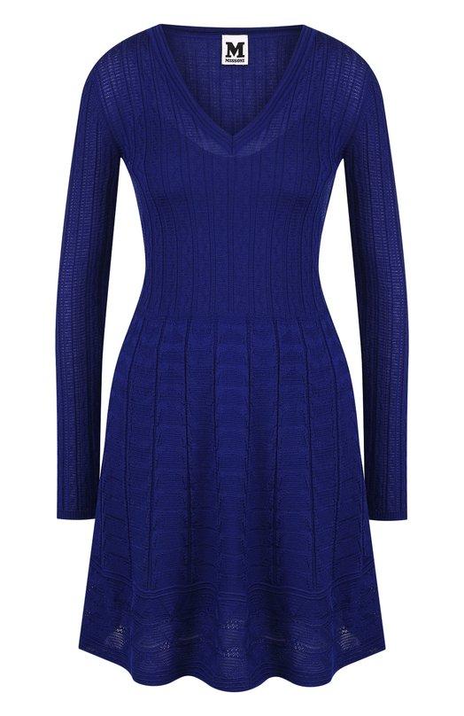 Купить Вязаное мини-платье с V-образным вырезом M Missoni, QD0KD3G52VJ, Румыния, Фиолетовый, Шерсть: 54%; Вискоза: 46%;