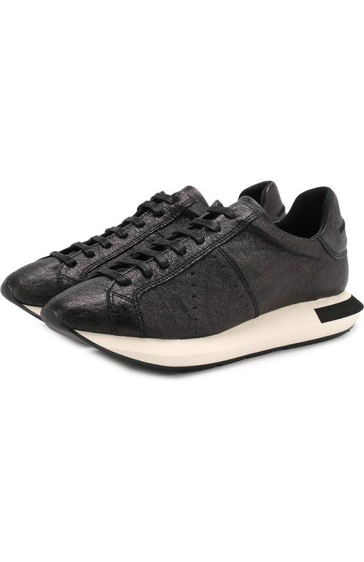 Купить Кожаные кроссовки на шнуровке Manuel Barcelo, ETNA-GL METAL BREAK, Испания, Черный, Подошва-резина: 100%; Подкладка-кожа: 100%; Кожа: 100%;