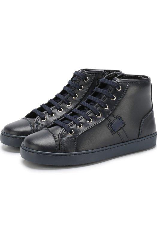 Купить Высокие кожаные кеды на шнуровке Dolce & Gabbana, 0132/DA0601/A6379/26-36, Италия, Синий, Кожа натуральная: 100%; Подошва-резина: 100%; Стелька-овчина: 100%;
