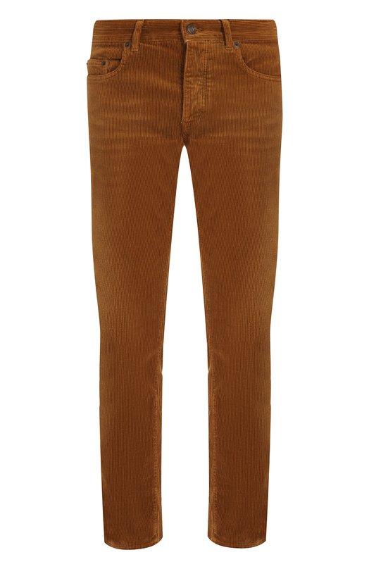 Купить Хлопковые брюки прямого кроя Saint Laurent, 526881/Y825M, Италия, Коричневый, Хлопок: 100%;