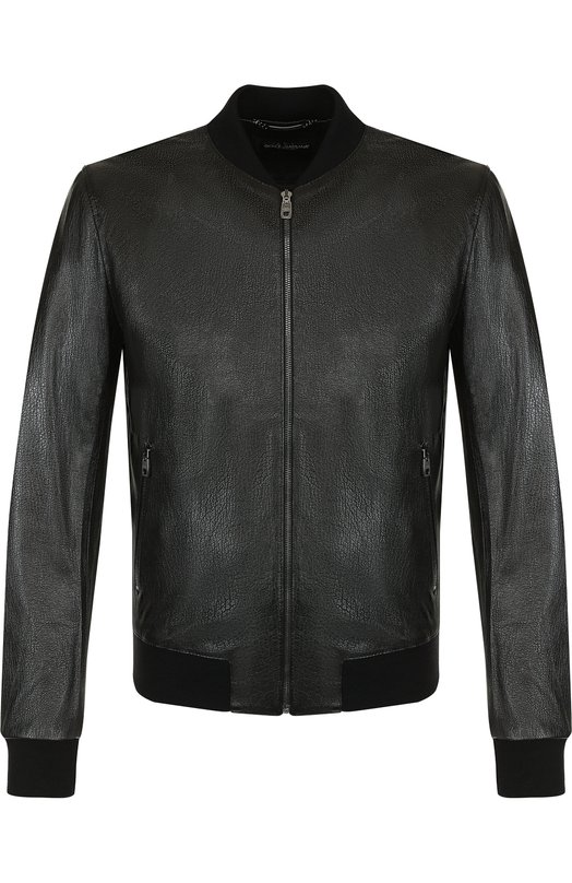 Купить Кожаный бомбер на молнии Dolce & Gabbana, G9LZ7L/HULAZ, Италия, Черный, Подкладка-Шелк: 92%; Подкладка-Кожа: 8%; Кожа: 100%;