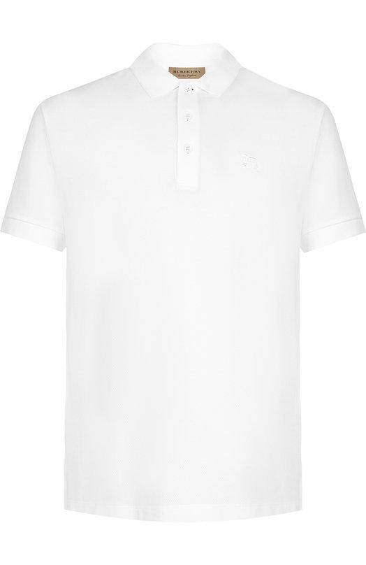 Купить Хлопковое поло с короткими рукавами Burberry, 8000919, Таиланд, Белый, Хлопок: 100%;
