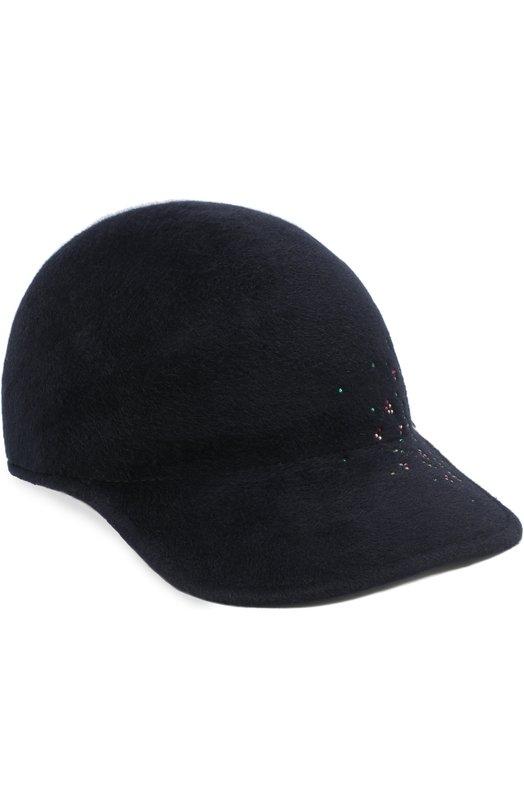 Купить Фетровая кепка Tiger с отделкой стразами Maison Michel, 1068006003/TIGER, Франция, Темно-синий, Фетр/кролик/: 100%;