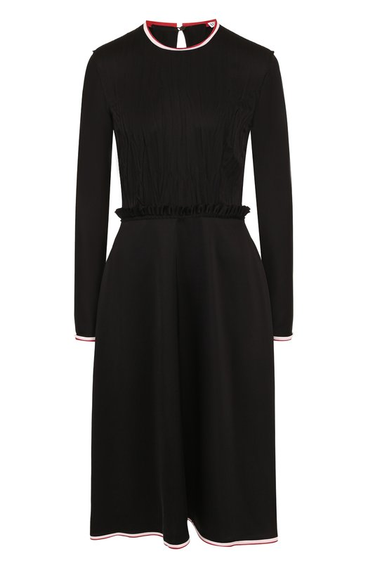 Купить Приталенное платье-миди с контрастной отделкой и оборками Loewe, S2286020FA, Италия, Черный, Ацетат: 67%; Полиэстер: 33%;
