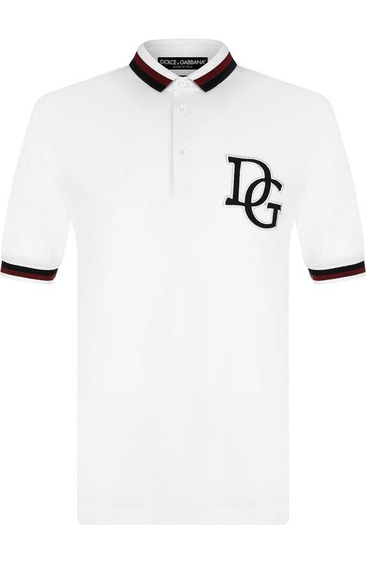 Купить Хлопковое поло с короткими рукавами Dolce & Gabbana, G8JF1Z/G7QAP, Италия, Белый, Хлопок: 100%;
