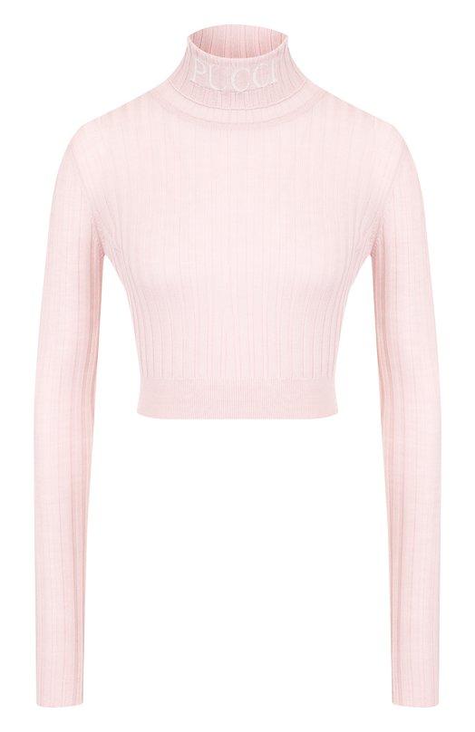 Купить Укороченная шерстяная водолазка с логотипом бренда Emilio Pucci, 8UKM24/8U976, Италия, Светло-розовый, Шерсть: 100%;