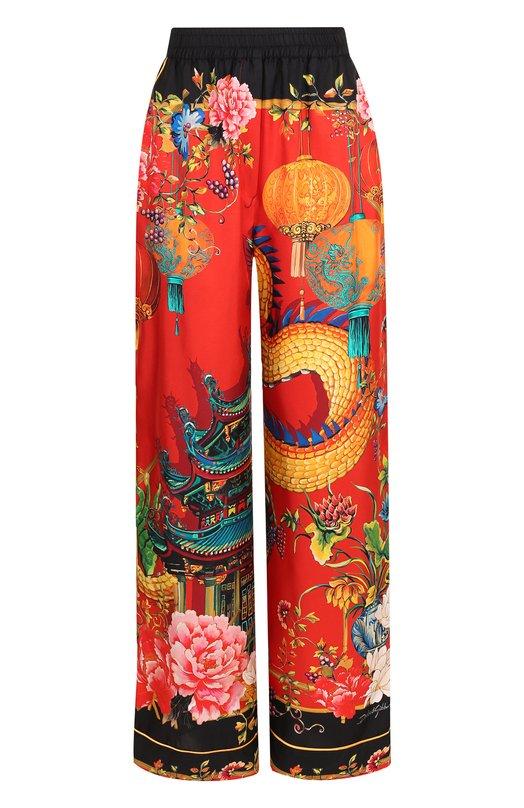 Купить Шелковые брюки с принтом Dolce & Gabbana, FTAMPT/HH11D, Италия, Красный, Шелк: 100%;