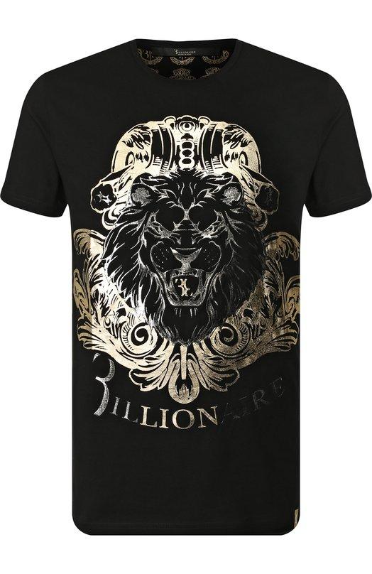 Купить Хлопковая футболка с принтом Billionaire, W18C MTK2359 BTE014N, Италия, Черный, Хлопок: 70%; Полиэстер: 30%;