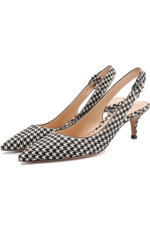 Купить Кожаные туфли Patti на каблуке kitten heel Gianvito Rossi, G95038.55RIC.P0NPIDP, Италия, Черно-белый, Подошва-кожа: 100%; Подкладка-кожа: 100%; Кожа с волосяным покровом/теленок/: 100%;