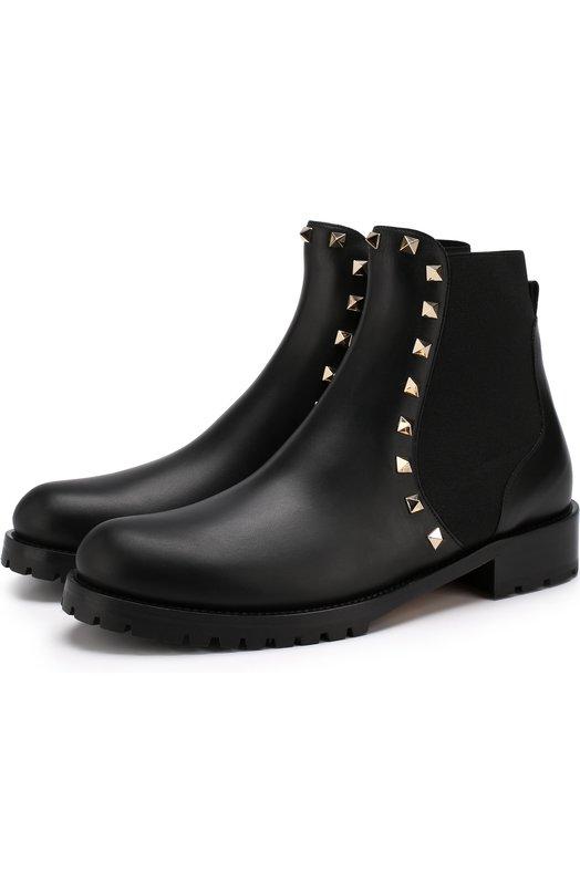 Купить Кожаные челси Valentino Garavani Rockstud Valentino, QW2S0D47/V0T, Италия, Черный, Подошва-кожа: 100%; Подкладка-кожа: 100%; Кожа: 100%;