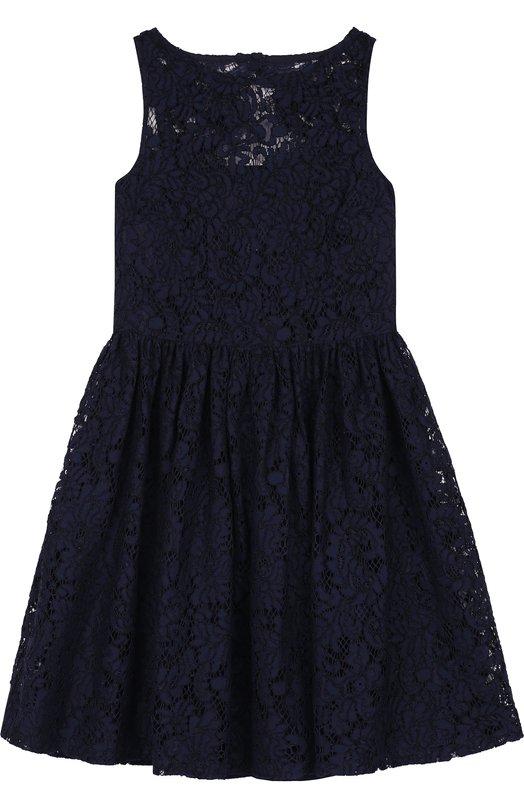 Купить 313705716, Платье с кружевной отделкой Polo Ralph Lauren, Китай, Темно-синий, Вискоза: 38%; Полиамид: 32%; Хлопок: 30%;, Женский, Платья