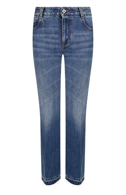 Купить Укороченные расклешенные джинсы со стрелками и потертостями Stella McCartney, 475508/SLH33, Италия, Синий, Хлопок: 100%;