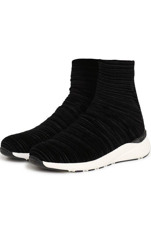 Купить Высокие текстильные кроссовки на контрастной подошве Casadei, 2J902L0201X498000, Италия, Черный, Подошва-резина: 100%; Текстиль: 100%; Подкладка-текстиль: 100%;
