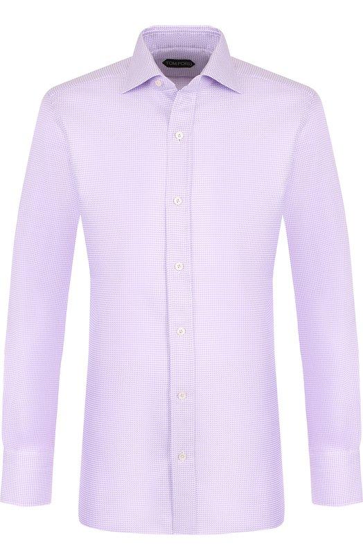 Купить Хлопковая сорочка с воротником кент Tom Ford, 4FT825/94S1AX, Италия, Сиреневый, Хлопок: 100%;