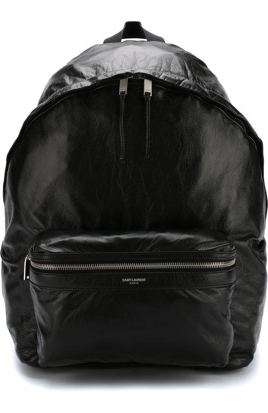 Купить Кожаный рюкзак с внешним карманом на молнии Saint Laurent, 534974/0QB2E, Италия, Черный, Кожа: 100%;
