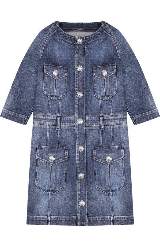 Купить Джинсовое мини-платье с карманами Balmain, W8E/4042/T135, Италия, Синий, Хлопок: 98%; Эластан: 2%;