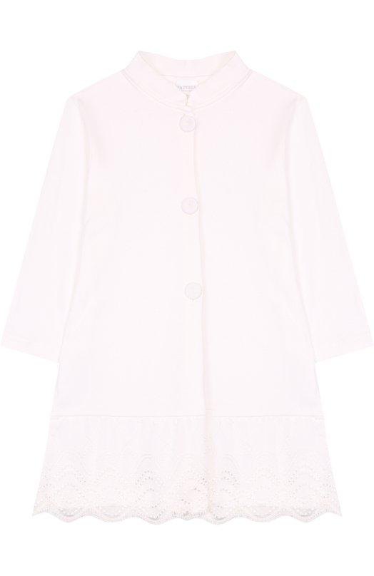 Купить Хлопковый халат с кружевной отделкой La Perla, 54860/8A-14A, Италия, Бежевый, Хлопок: 100%;
