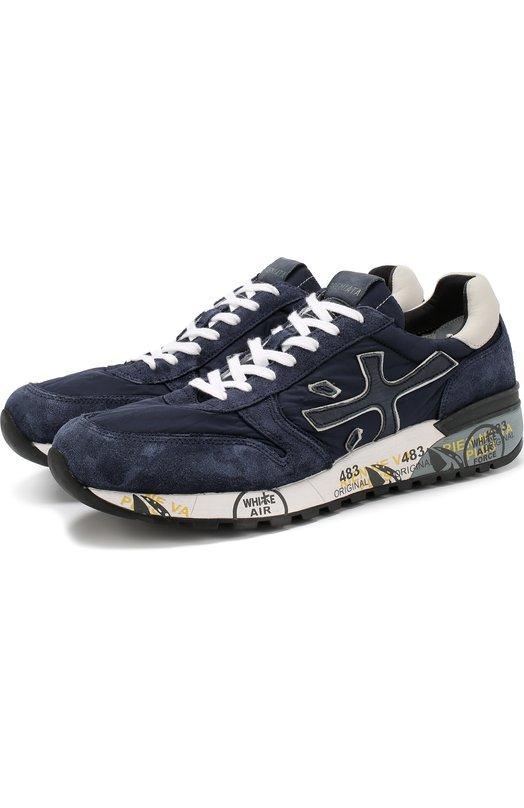 Купить Комбинированные кроссовки на шнуровке Premiata, MICK/VAR3253, Вьетнам, Темно-синий, Подкладка-кожа: 86%; Подошва-полимер: 70%; Текстиль: 60%; Кожа: 40%; Подошва-резина: 30%; Подкладка-текстиль: 14%;
