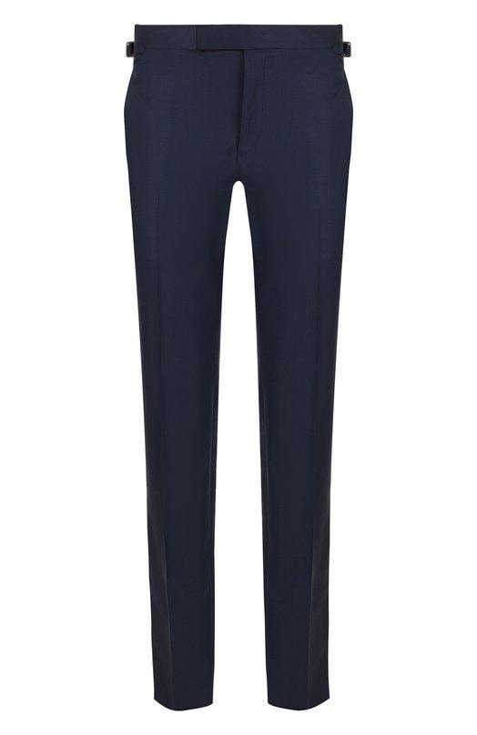 Купить Шерстяные брюки прямого кроя Tom Ford, 422R02/610043, Италия, Синий, Шерсть: 100%;