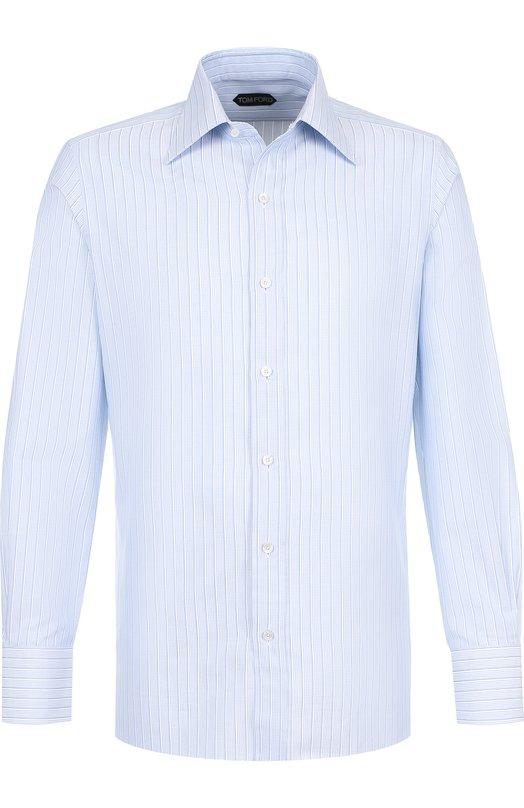 Купить Хлопковая сорочка с воротником кент Tom Ford, 4FT123/94S1JE, Италия, Голубой, Хлопок: 100%;