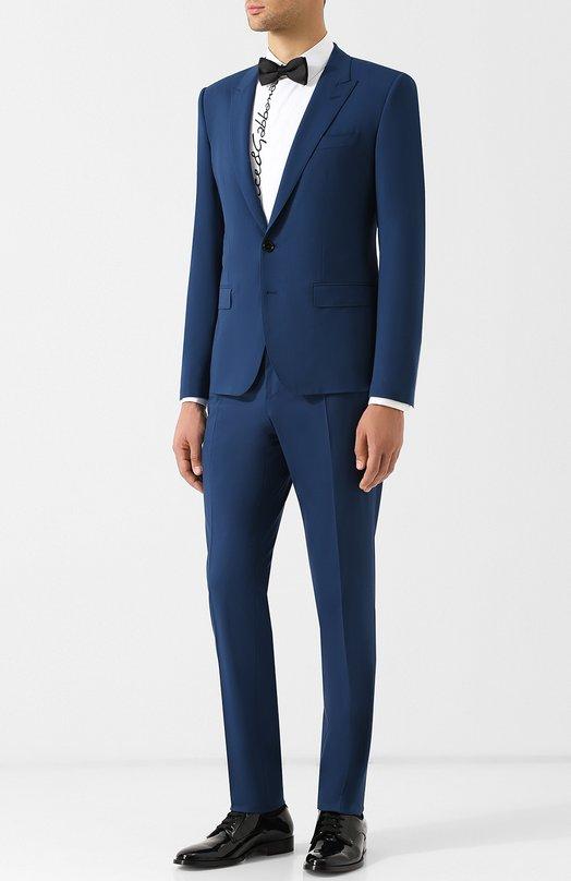 Купить Шерстяной костюм с пиджаком на двух пуговицах Dolce & Gabbana, GK0RMT/FUBEC, Италия, Черный, Шерсть: 98%; Эластан: 2%;