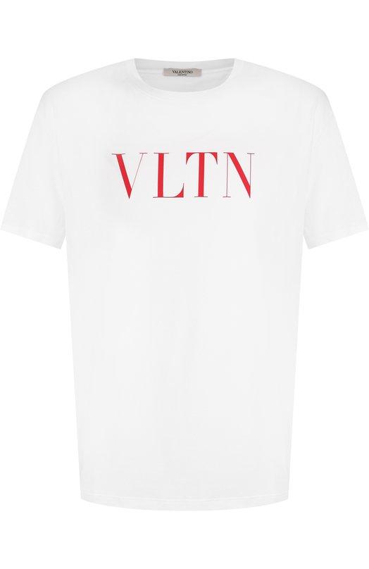Купить Хлопковая футболка с круглым вырезом Valentino, QV3MG10V3LE, Италия, Белый, Хлопок: 100%;