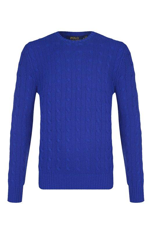 Купить Кашемировый джемпер фактурной вязки Polo Ralph Lauren, 710613099, Китай, Синий, Кашемир: 100%;