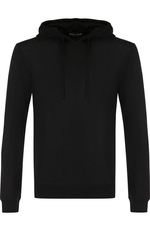 Купить Кашемировый джемпер тонкой вязки с капюшоном Dolce & Gabbana, GX205T/JAWDM, Италия, Черный, Кашемир: 100%;