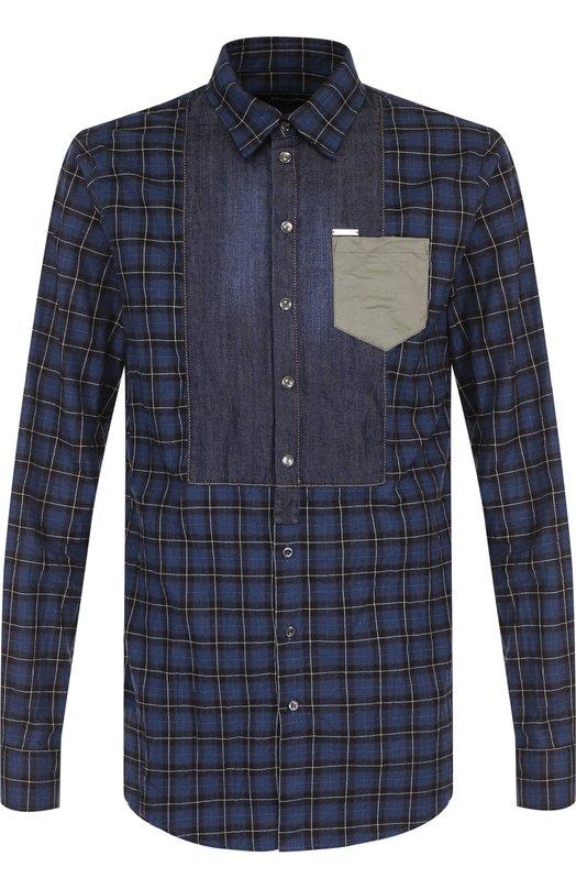 Купить Хлопковая рубашка с воротником кент Dsquared2, S74DM0179/S48922, Италия, Разноцветный, Хлопок: 100%;