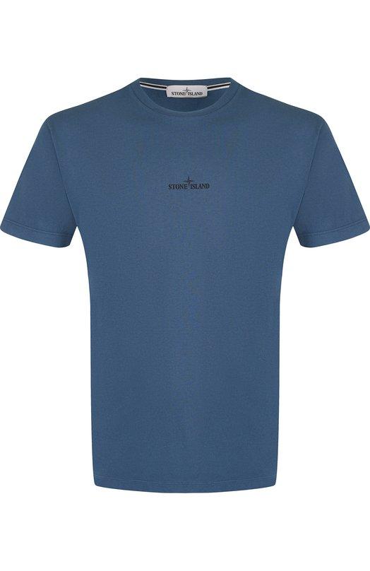 Купить Хлопковая футболка с принтом Stone Island, 69152NS81, Тунис, Синий, Хлопок: 100%;
