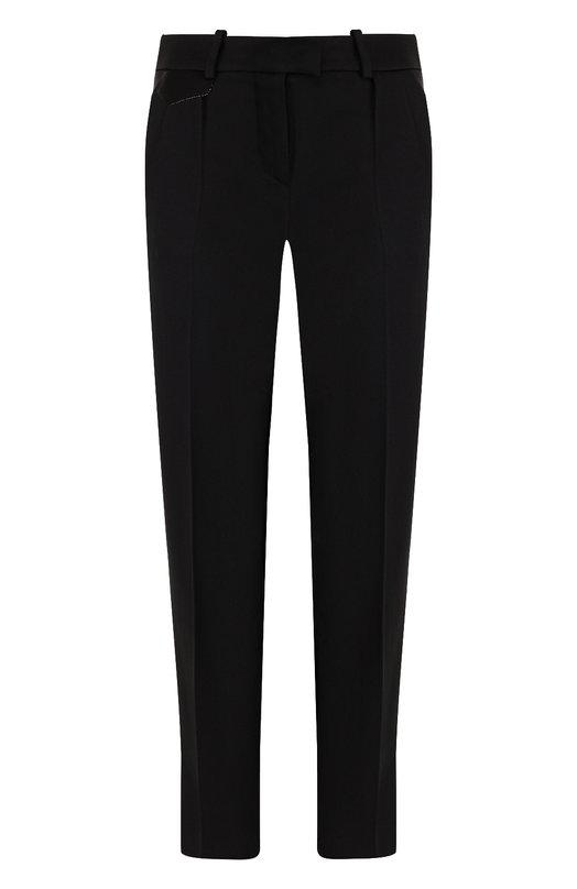 Купить Однотонные укороченные брюки со стрелками Giorgio Armani, 8WHPP00V/T00A6, Италия, Черный, Вискоза: 53%; Ацетат: 46%; Полиамид: 1%;