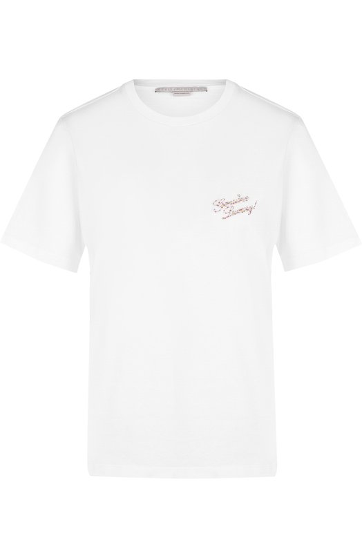 Купить Хлопковая футболка с круглым вырезом и надписью Stella McCartney, 541834/SLW70, Португалия, Белый, Хлопок: 100%;