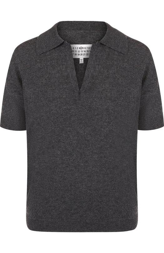 Купить Шерстяной пуловер с укороченным рукавом и V-образным вырезом Maison Margiela, S51HA0847/S16427, Италия, Темно-серый, Шерсть: 100%;
