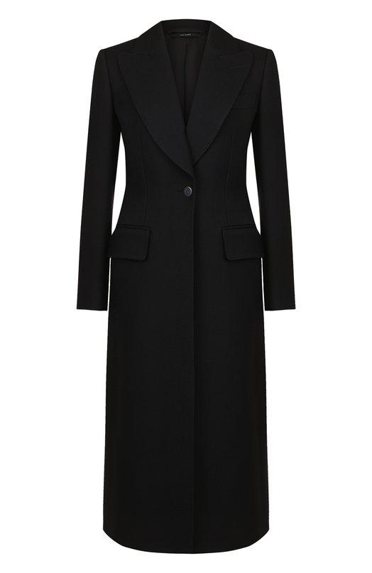 Купить Однотонное шерстяное пальто на одной пуговице Tom Ford, CP1443-FAX211, Италия, Черный, Шерсть: 99%; Подкладка-шелк: 51%; Подкладка-вискоза: 49%; Шелк: 1%;
