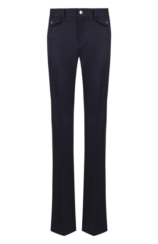 Купить Расклешенные шерстяные брюки со стрелками REDVALENTINO, QR0RB1G0/3SL, Румыния, Темно-синий, Шерсть: 98%; Эластан: 2%;