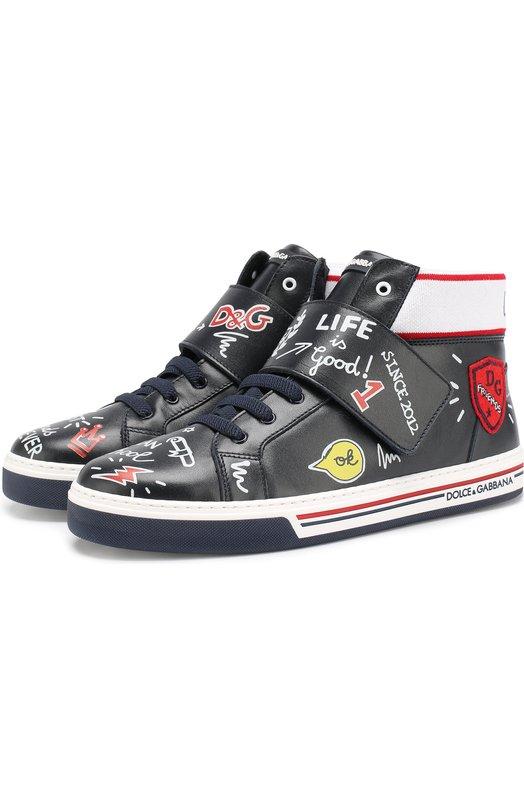 Купить Высокие кожаные кеды на шнуровке с застежкой велькро Dolce & Gabbana, DA0657/AZ019/37-39, Италия, Темно-синий, Подошва-резина: 100%; Подкладка-кожа: 100%; Кожа: 100%;