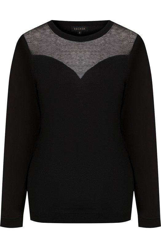 Купить Вязаный пуловер из вискозы с круглым вырезом Escada, 5027877, Китай, Черный, Вискоза: 77%; Полиамид: 23%;