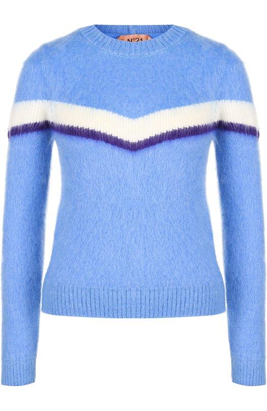 Купить Шерстяной пуловер с круглым вырезом No. 21, 18I N2M0/A033/7086, Италия, Голубой, Шерсть: 43%; Мохер: 35%; Полиамид: 22%;