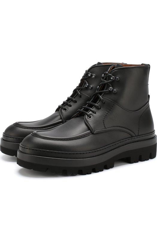 Купить Кожаные ботинки на шнуровке Zegna Couture, A4087X-SWI, Италия, Черный, Подошва-резина: 60%; Подошва-кожа: 40%; Подкладка-кожа: 100%; Кожа: 100%;