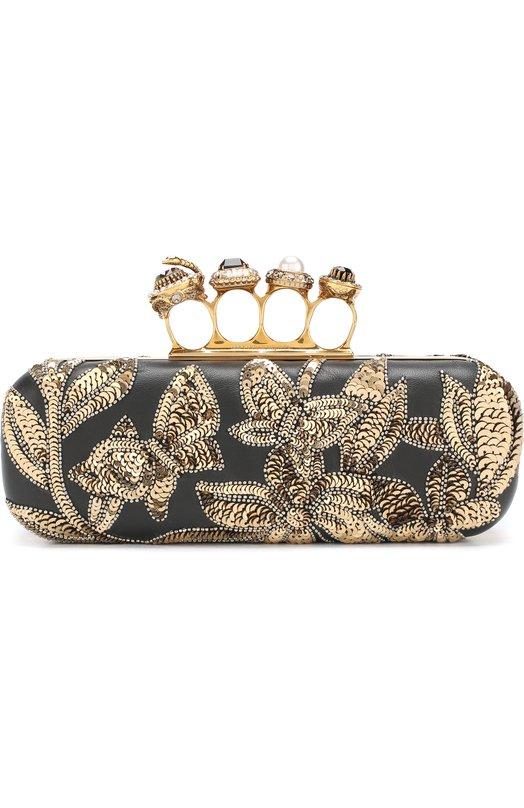 Купить Клатч Long Knuckle Box Alexander McQueen, 530648/00X8T, Италия, Черный, Кожа: 100%;