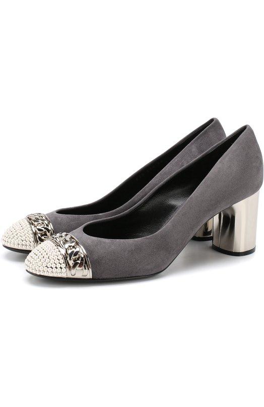 Купить Замшевые туфли с декоративной отделкой на устойчивом каблуке Casadei, 1F482L0601Y56500G, Италия, Светло-серый, Подошва-кожа: 100%; Подкладка-кожа: 100%; Кожа: 100%;